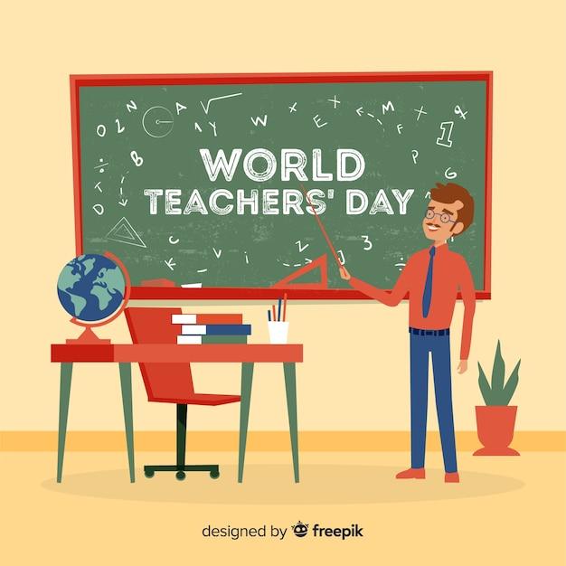 Hand getrokken leraren dag achtergrond Gratis Vector