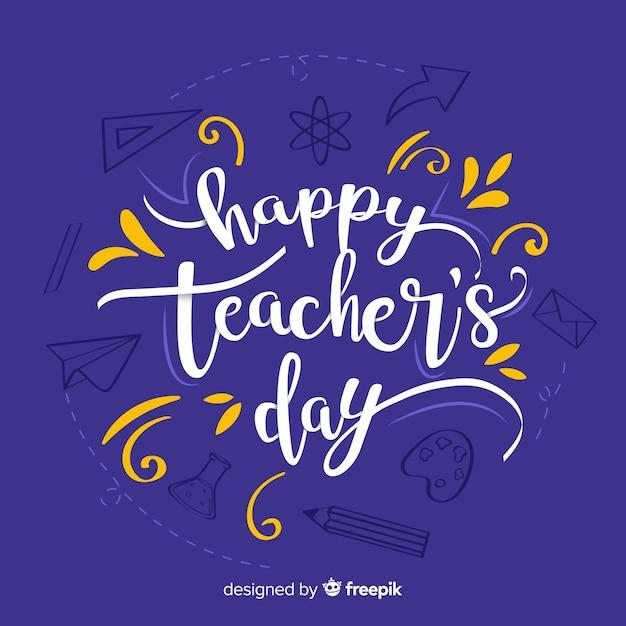 Hand getrokken leraren dag belettering Gratis Vector