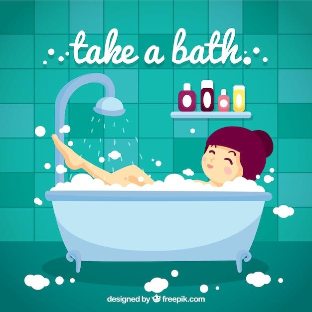 Hand getrokken leuk meisje nemen van een bad Gratis Vector
