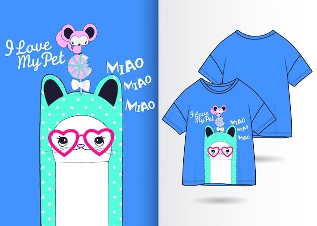 Hand getrokken leuke kat illustratie met t-shirt ontwerp Premium Vector