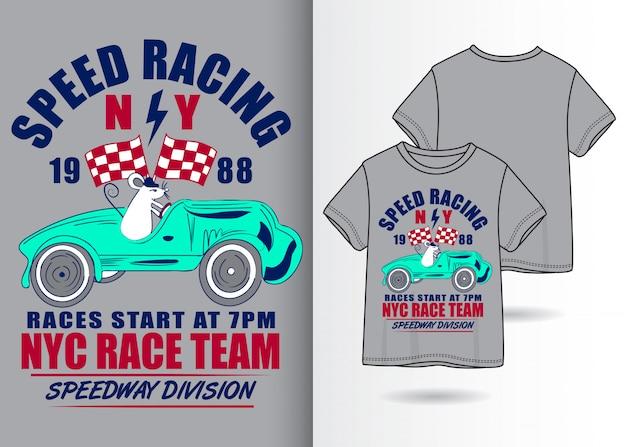 Hand getrokken leuke raceautoillustratie met t-shirtontwerp Premium Vector