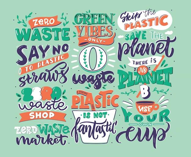 Hand getrokken logo set nul afval zinnen, handgeschreven letters samenstelling geïsoleerd, illustratie collectie Premium Vector