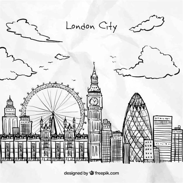 Hand getrokken london city Gratis Vector