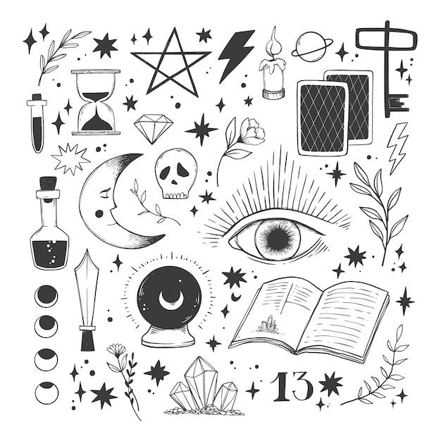Hand getrokken magische illustraties. collectie met esoterische mystieke elementen. hekserij Premium Vector