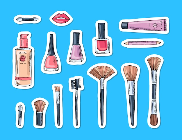 Hand getrokken make-up geïsoleerde elementen stickers Premium Vector