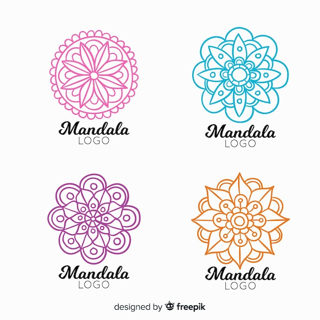 Hand getrokken mandala logo collectie Gratis Vector