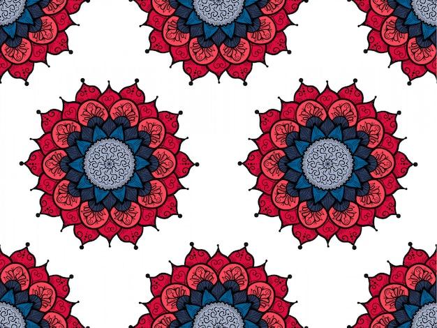 Hand getrokken mandala naadloze patroon. decoratio van de arabische, indische, turkse en ottomaanse cultuur Premium Vector