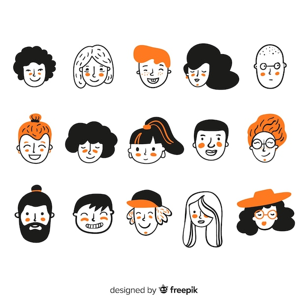 Hand getrokken mensen avatar collectie Gratis Vector