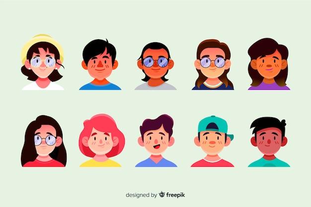 Hand getrokken mensen avatar set Gratis Vector