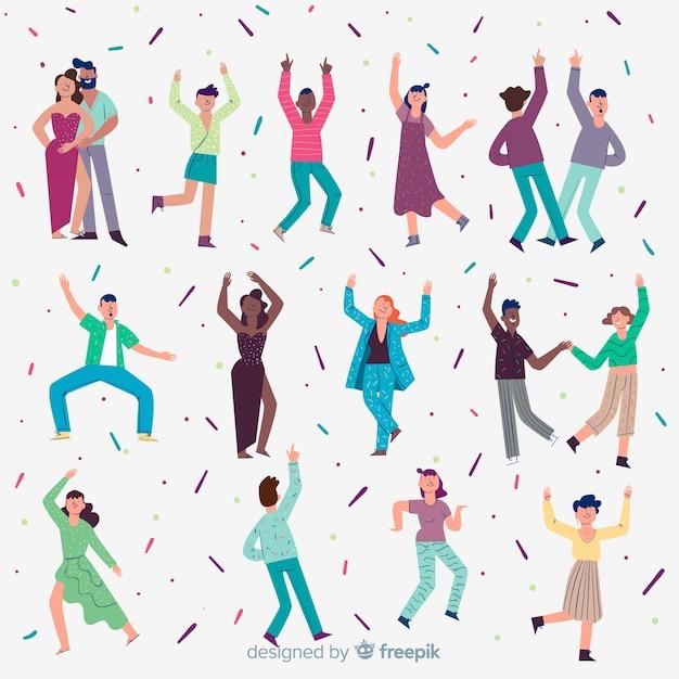 Hand getrokken mensen dansen achtergrond Gratis Vector