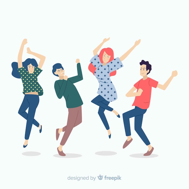 Hand getrokken mensen dansen collectie Gratis Vector
