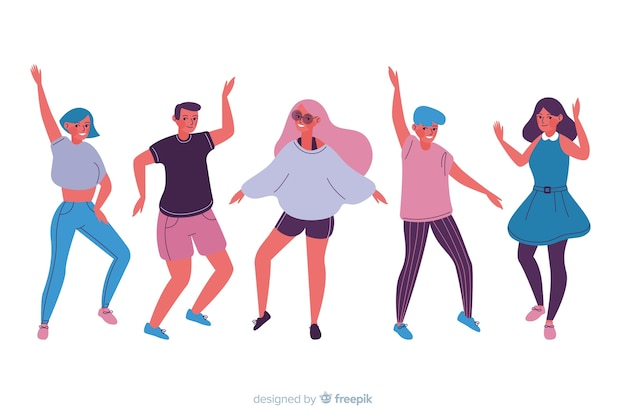 Hand getrokken mensen dansend pak Gratis Vector