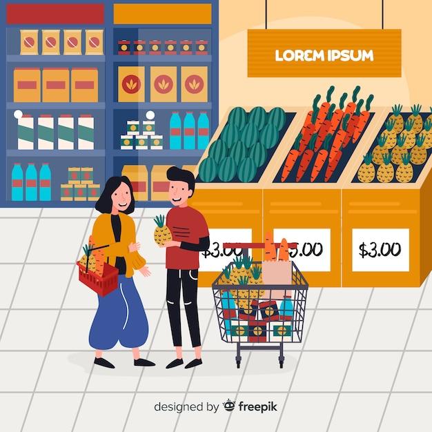 Hand getrokken mensen die de supermarktachtergrond kopen Gratis Vector