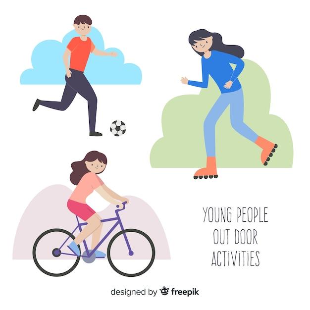 Hand getrokken mensen doen buitenshuis activiteiten pack Gratis Vector