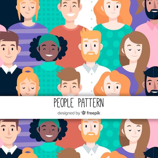 Hand getrokken mensen patroon achtergrond Gratis Vector