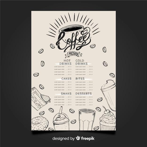 Hand getrokken menu voor coffeeshop Gratis Vector