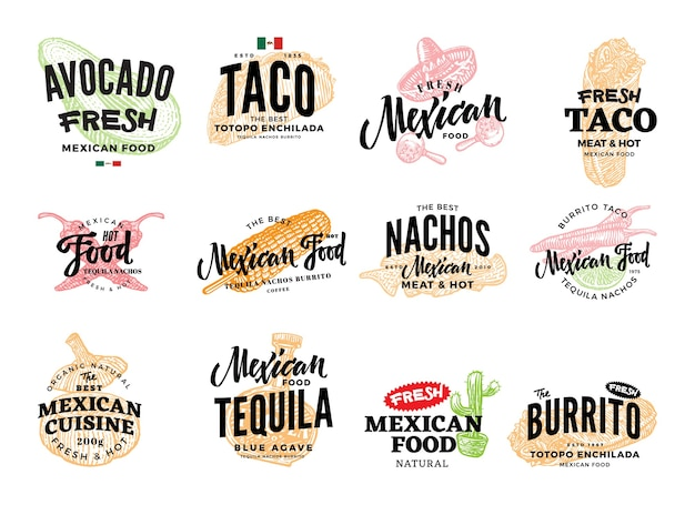 Hand getrokken mexicaans eten logo's Gratis Vector