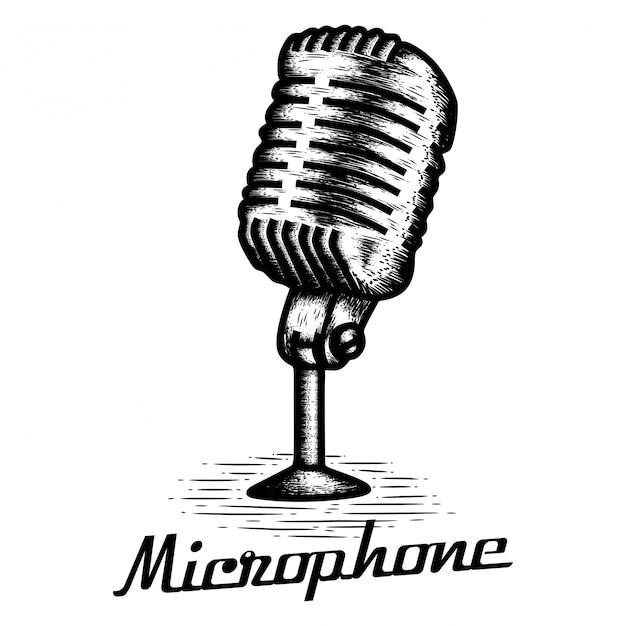 Hand getrokken microfoon Premium Vector