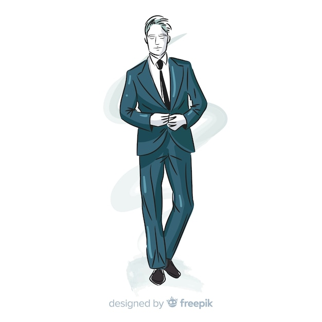 Hand getrokken mode man illustratie Gratis Vector