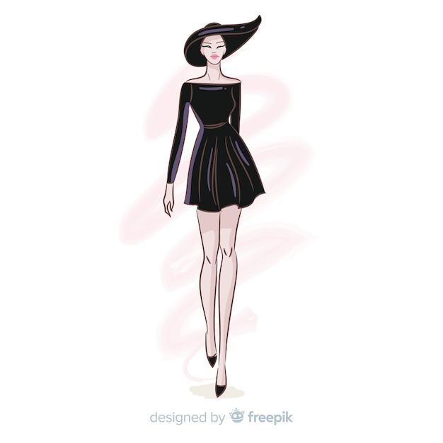 Hand getrokken mode vrouw illustratie Gratis Vector