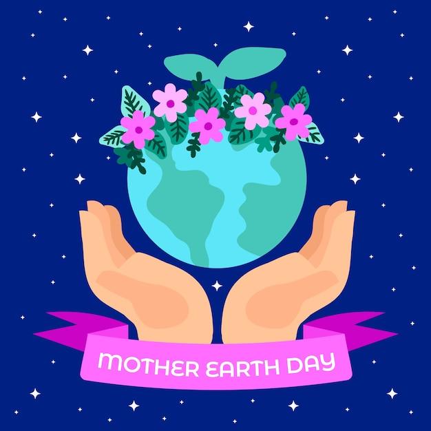 Hand getrokken moeder aarde met lint Gratis Vector