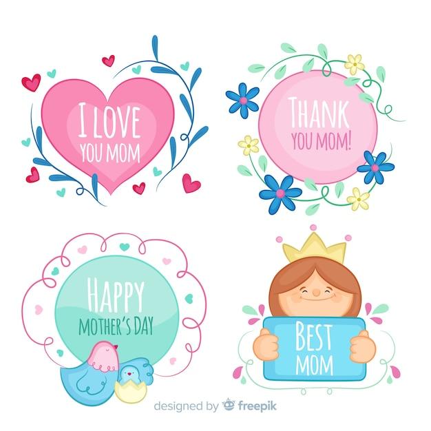 Hand getrokken moederdag badge-collectie Gratis Vector