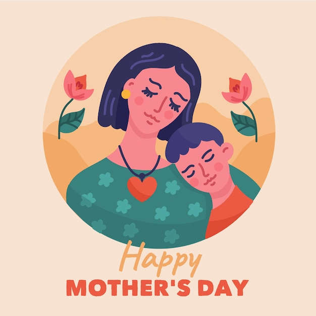 Hand getrokken moederdag illustratie met moeder en zoon Gratis Vector