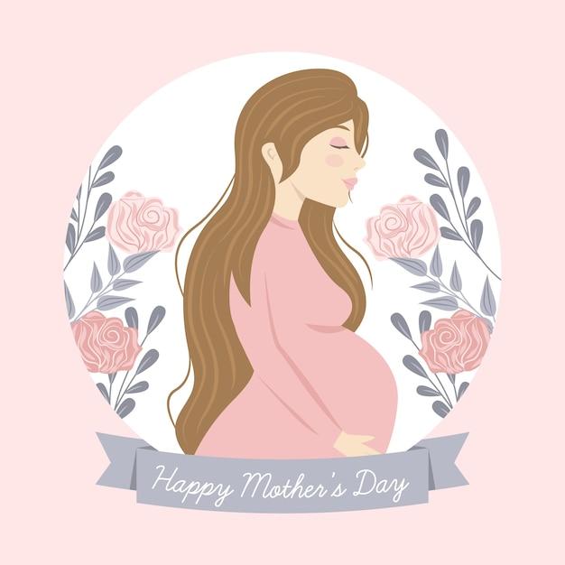 Hand getrokken moederdag illustratie met zwangere vrouw Gratis Vector