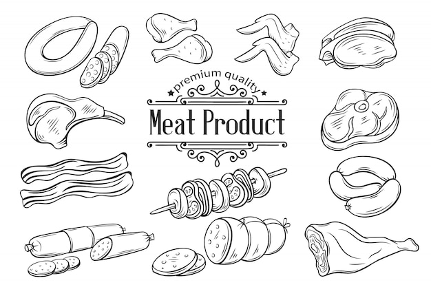 Hand getrokken monochroom pictogram vlees instellen Premium Vector