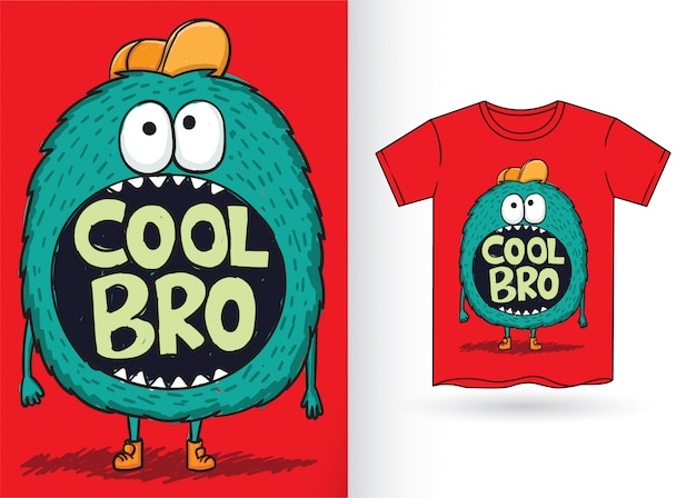 Hand getrokken monster cartoon voor t-shirt Premium Vector