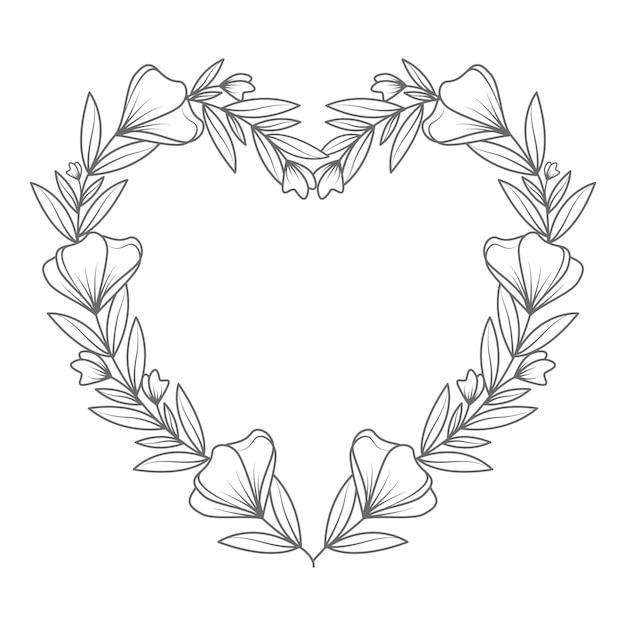 Hand getrokken mooie en lijntekeningen bloemen hart illustratie Premium Vector