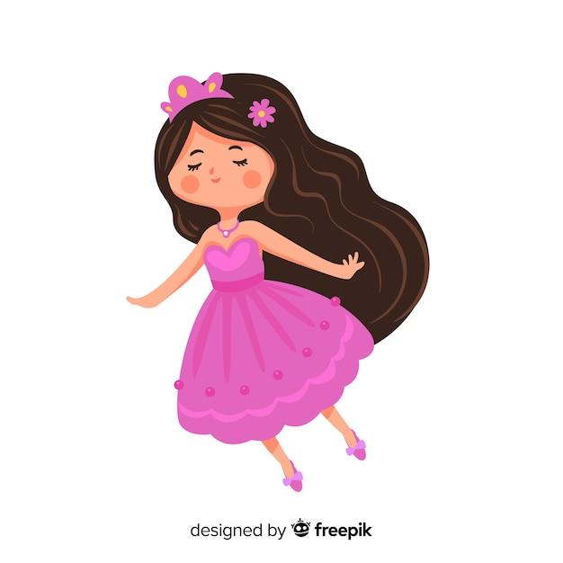 Hand getrokken mooie prinsesillustratie Gratis Vector