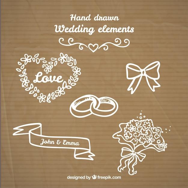 Hand getrokken mooie wieden dingen Gratis Vector