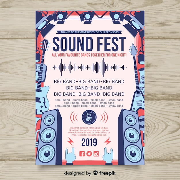 Hand getrokken muziek festival poster sjabloon Gratis Vector