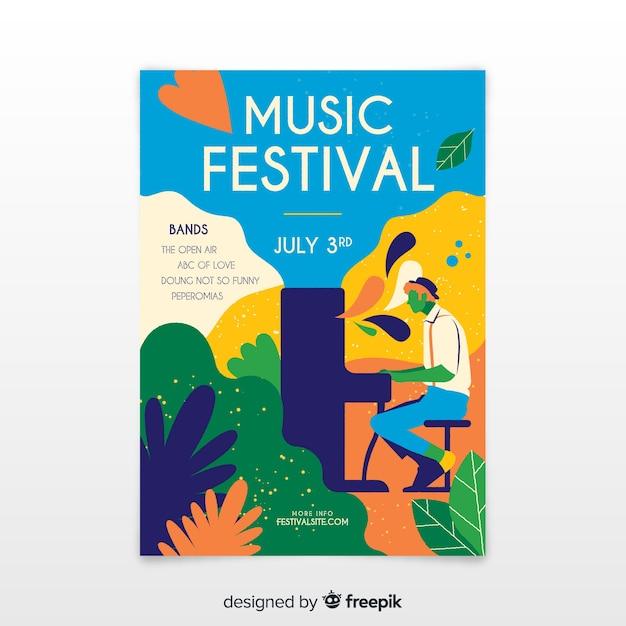 Hand getrokken muziekfestivalaffiche Gratis Vector