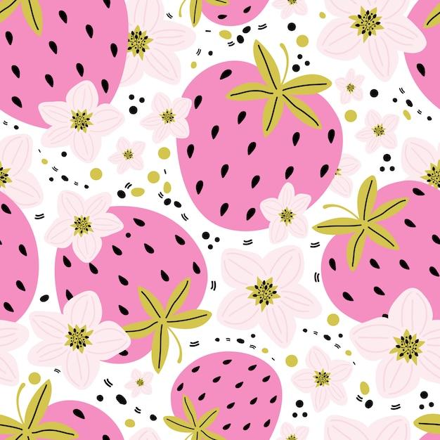 Hand getrokken naadloos patroon met bessen en aardbeibloemen met bladeren op een witte achtergrond. zomer zoete bessen als achtergrond. creatieve scandinavische kindertextuur voor stof, verpakking, textiel Premium Vector