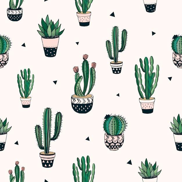 Hand getrokken naadloos patroon met cactussen en succulents, vectorontwerp Premium Vector