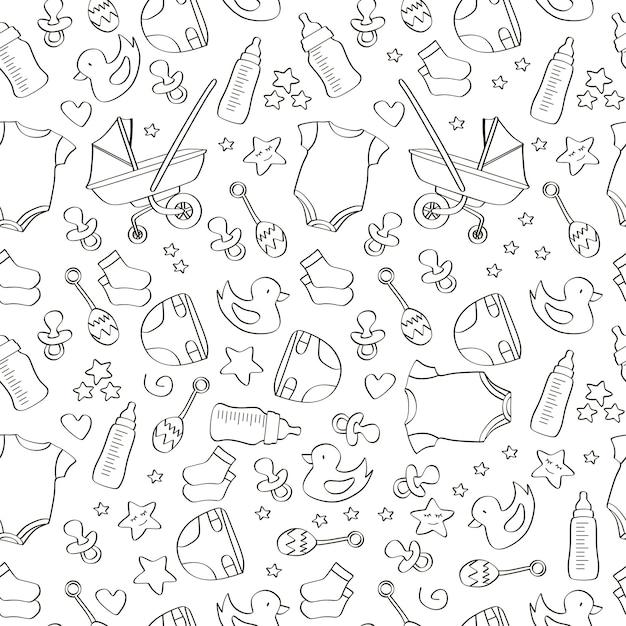 Hand getrokken naadloze baby pictogram patroon achtergrond Premium Vector