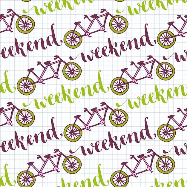 Hand getrokken naadloze patroon met fietsen en weekend belettering. vectorachtergrond met fiets achter elkaar voor ontwerpdecoratie. Premium Vector