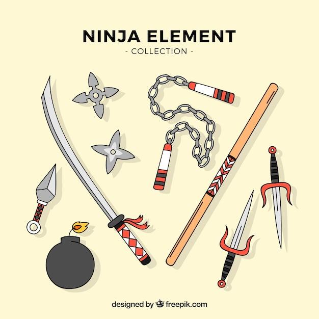 Hand getrokken ninja element collectie Gratis Vector