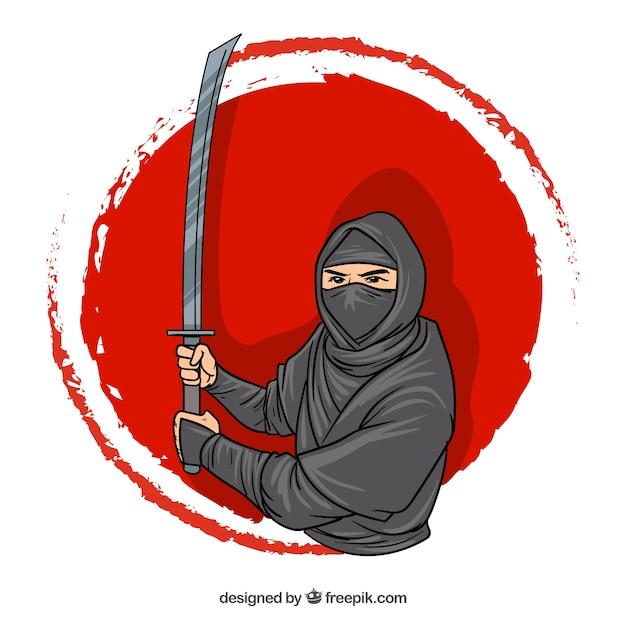 Hand getrokken ninja karakter achtergrond Gratis Vector