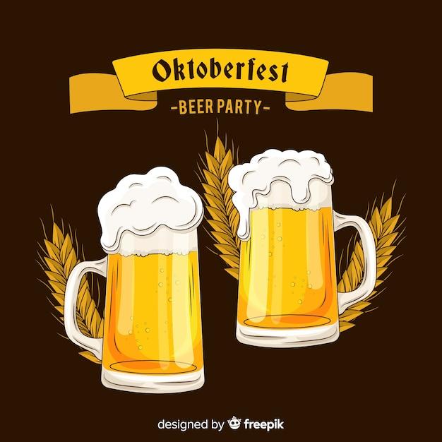 Hand getrokken oktoberfest geeft een toast bier Gratis Vector