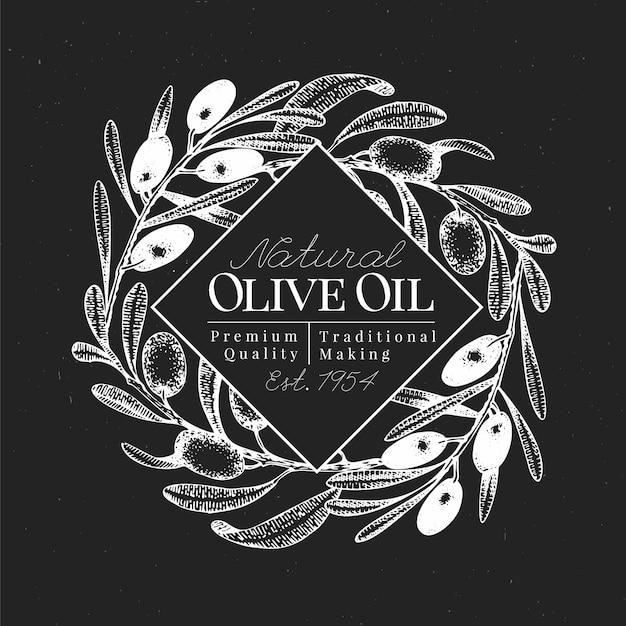 Hand getrokken olijf ontwerpsjabloon. vectorolijvenillustraties op schoolbord. vintage olijf oli achtergrond Premium Vector