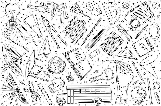 Hand getrokken onderwijs set doodle achtergrond Premium Vector