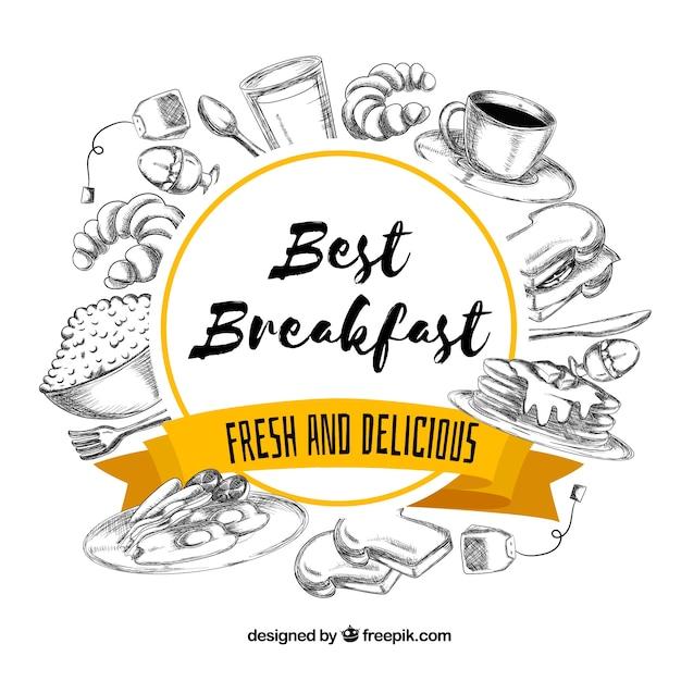 Hand getrokken ontbijtkader Gratis Vector