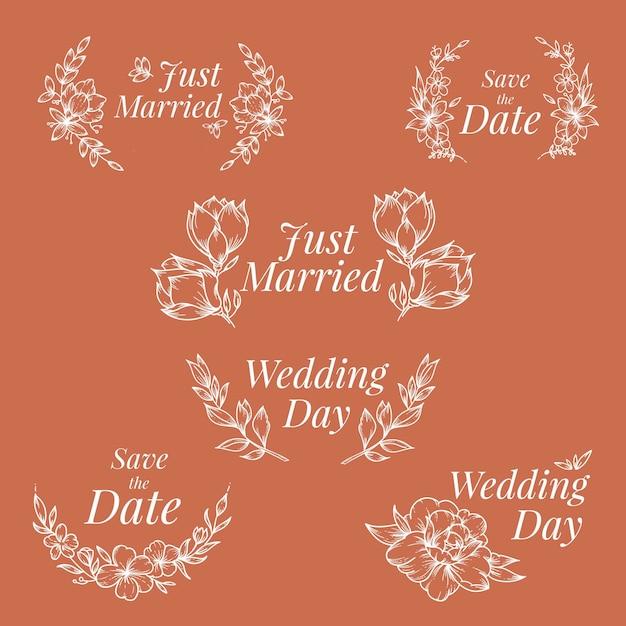 Hand getrokken ontwerp bruiloft ornamenten Gratis Vector
