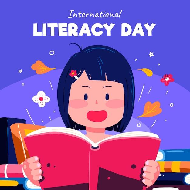 Hand getrokken ontwerp internationale alfabetiseringsdag Gratis Vector