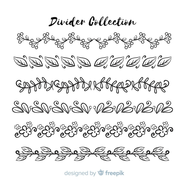 Hand getrokken ornament divider collectie Gratis Vector