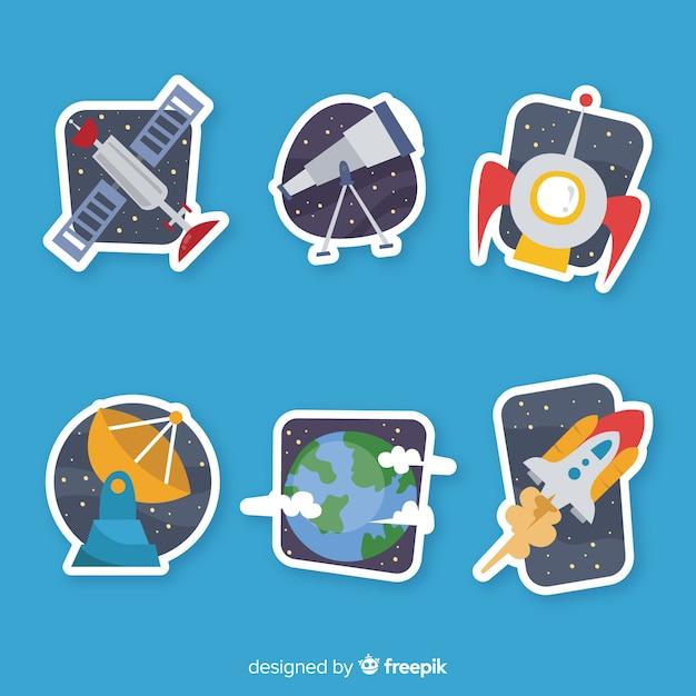 Hand getrokken pack van ruimtestickers Gratis Vector