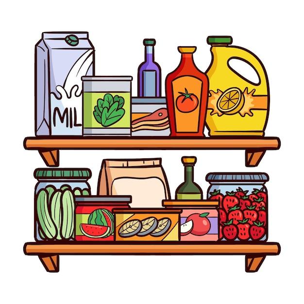 Hand getrokken pantry met verschillende soorten voedsel Gratis Vector